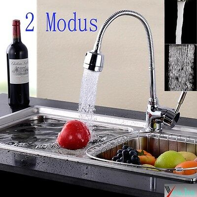 Modern Chrome  Swivel Mixer Faucet Kitchen Sink Basin Tap Two Water Outlet