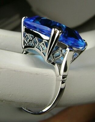 20ct *Swiss Blue Topaz* Solid Sterling Silver Filigree Ring (MTO/New) Size Any