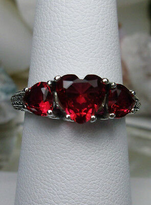 3-Gem *Red Ruby* Hearts Solid Sterling Silver Filigree Ring Size {Made To Order}