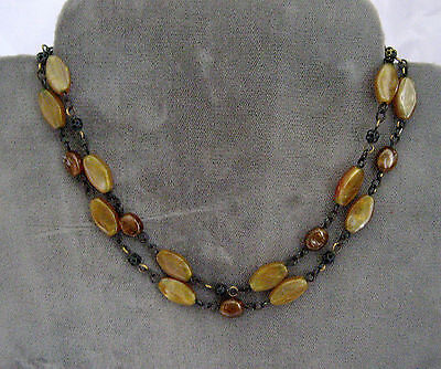 """Amber Stone Necklace 24"""""""