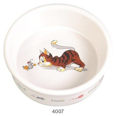 New 2 X Trixie Ceramic Food / Water Cat Bowl - 4007