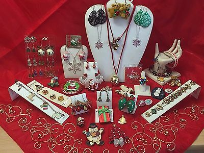 Massive CHRISTMAS JEWELRY Lot PINS BROOCHES Earrings Necklaces Bracelets 5