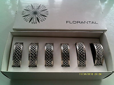 6 Florantal Silver Plate Napkin Rings Boxed