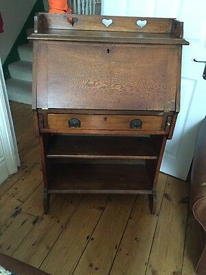Solid Oak Writing bureau / Desk / Book Case With Carved Hearts, Arts And Crafts