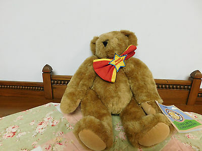 """Vermont Teddy Bear with Happy Birthday Tie with Attached Booklet 16"""""""
