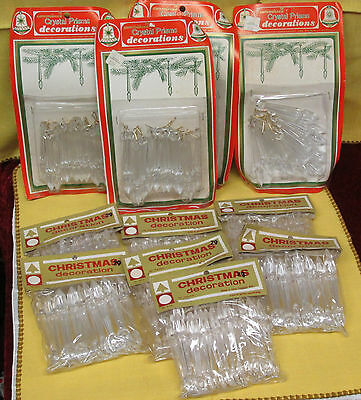 255 Pc Lot of Vtg NOS Plastic Crystal Prism Icicle Christmas Tree Ornaments