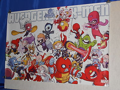"Avengers VS X-Men 24""X36"" Rolled Poster Skottie Young X-Babies NEW Printing NM"