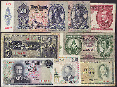 LOT OF 8 PCS.  -  HUNGARY,LUXEMBOURG,RUSSIA  -  from circulation