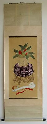 Fine Old Chinese Flowering Plant Ruyi Scepter Wall Hanging Silk Scroll Painting