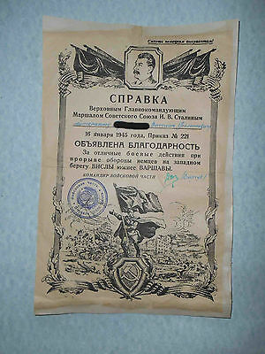 USSR 1945 Thanksgiven document with STALIN. Capture WARSAW Poland.