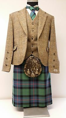 Harris Tweed & Flower Of Scotland  8 Yard Full Highland Dress Kilt Package Sale