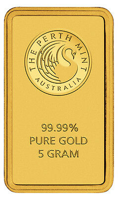 Perth Mint 5 Gram .9999 Gold Bar New Sealed With Assay Certificate