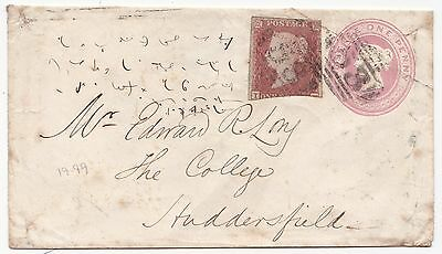 1853 BATH =53= UPRATED 1d PINK COVER SHORTHAND & WAFER SEAL TO COLLEGE HUDDERSFd