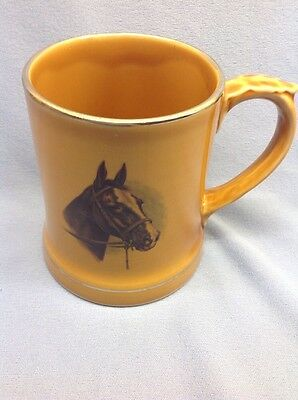 Vintage Wade Pottery Beer Tankard Mug Horse's Head On Front