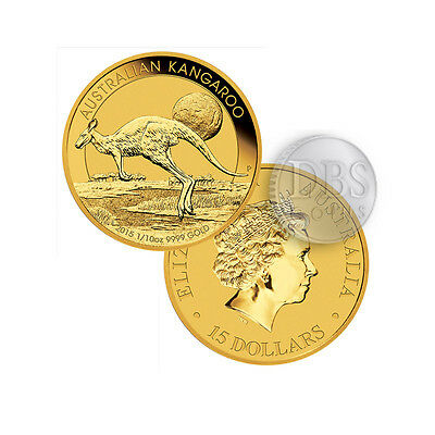 1/10 oz Australian Gold Kangaroo Perth Mint Coin .9999 Fine BU In Cap