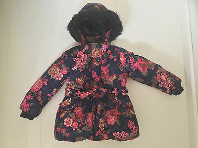 Monsoon Navy & Pink Floral Winter Coat With Hood & Belt - Age 3-4 Yrs  104Cm