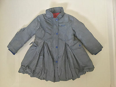Oilily Blue Checked Winter Puffball Style Coat With Hidden Hood-Age 4 Yrs 104Cm