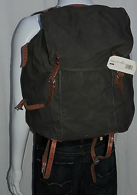 Vintage Swedish Military Backpack Canvas Lots of Leather + metal Frame
