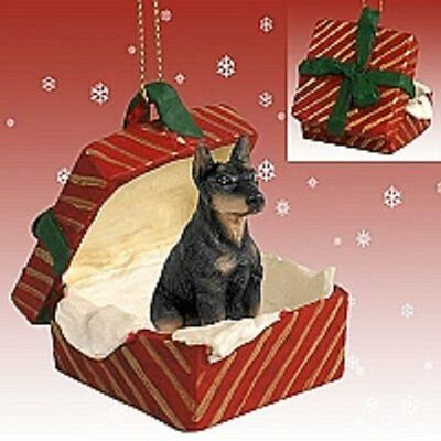 Doberman Pinscher Black Dog RED Gift Box Holiday Christmas ORNAMENT