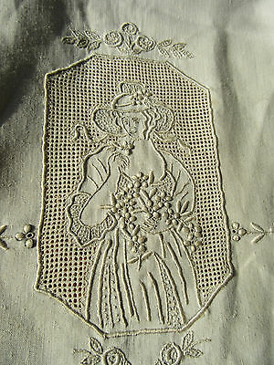Pair Fine Embroidery Pierced Appenzell Lace Finger Towels 37 by 22 Trousseau