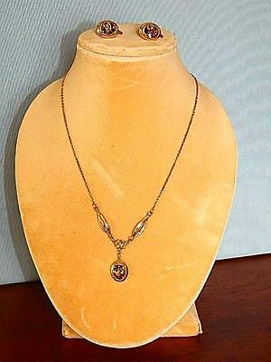 Vintage Pendant and Earring set by Amco -Smoky Topaz in 14kt GF Mounts
