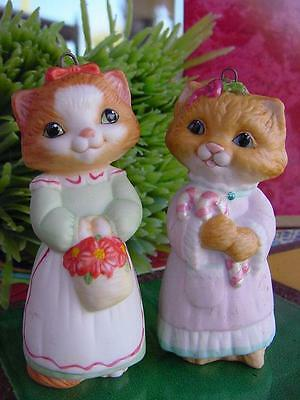 2 HALLMARK porcelain kitty cats CHRISTMAS ORNAMENTS Victorian dress KITTENS CUTE