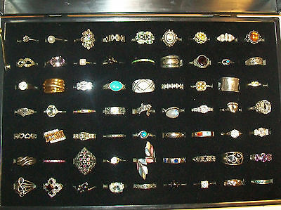 Vintage Sterling Silver 925 Lot 63 Rings Opals, Turquoise, Pearls, Moonstone,etc