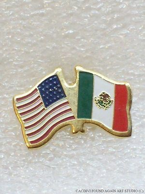 Vintage US & Mexico Flags Pin America Travel Tie Tack Lapel Gold Tone Badge