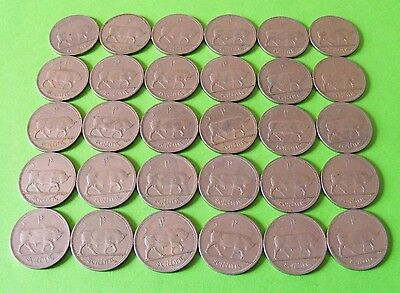 Lot Of 30 Authentic Irish One Shilling Coins - Charging Bull Ireland - Lot#5805