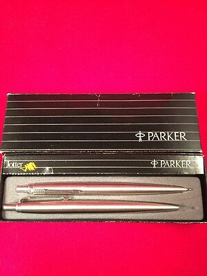 Vintage PARKER JOTTER Stainless Steel Ballpoint pen and Mechanical Pencil In Box