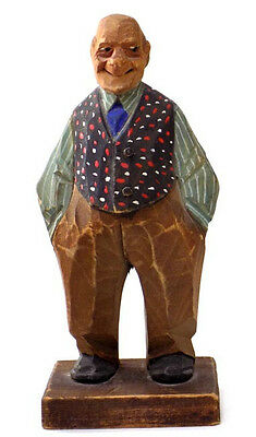 Wood Figure Portly Man Polka Dot Vest Signed Hand Carved by Trygg