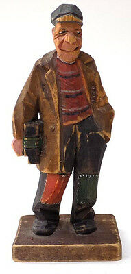 Wood Figure Hobo with  Railroad Cap & Lantern Signed Hand Carved by Trygg