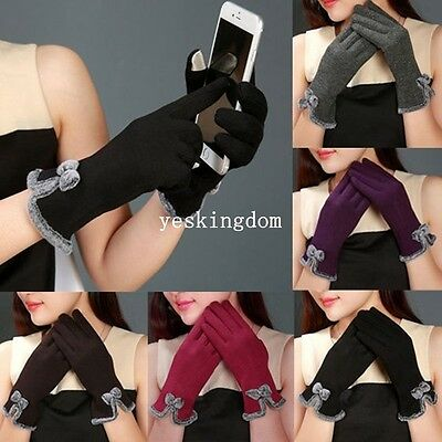 Womens Bow Fleece Thermal Lined Touch Screen Full Finger Gloves Winter Warm