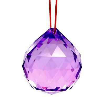 "PURPLE FENG SHUI HANGING CRYSTAL BALL 1.5"" 40mm Sphere Prism Faceted Sun Catcher"