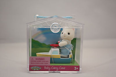 Calico Critters Baby Kitten Cat Boat Mini Carry Case Doll House Figure Nib