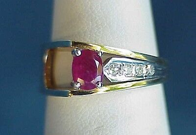 Vintage Mid Century Modern 14Kt Gold 585 Abstract Ruby Diamond Square 6.5 Ring