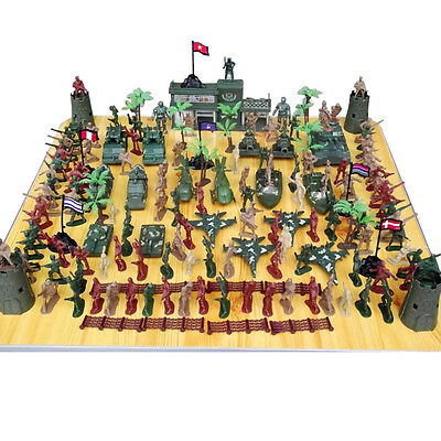 146 pcs Military Playset Plastic Toy Soldiers Army Men 5cm Figures & Accessories
