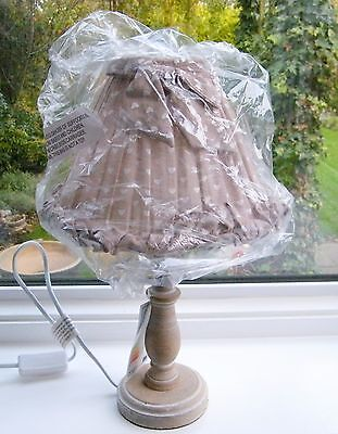Shabby Chic Washed Wood Table Lamp with Mushroom Fabric Shade with Hearts & Bow