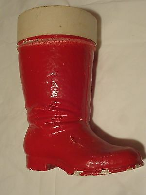 Vintage Christmas Paper Mache Santa Boot Large Red Very Old