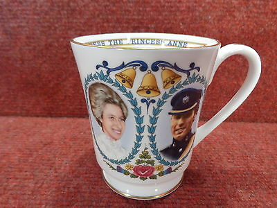 AYNSLEY Bone China Princess Anne Mark Phillips Wedding MUG 1973 FREE UK POSTAGE