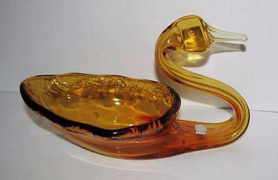 Vintage Amber Hand made Swan Dish by Rainbow Glass Co West Virginia