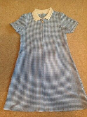 Mothercare Little Girls Blue Checked School Dresses Age 8-9 Years