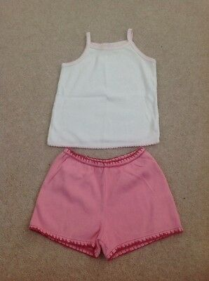 Baby Gap Little Vest And Shorts Set Age 4 Years Pink And Soft Cream