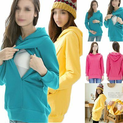 Maternity 2-in-1 Pregnancy and Discreet Nursing Hoodie Top Easy Breastfeeding
