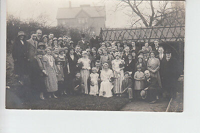 Wedding Party & Guests Group photo postcard 1920/30's