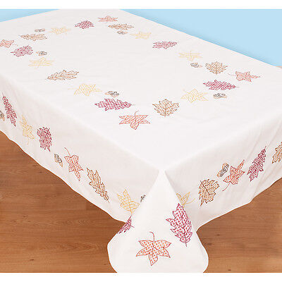 """Stamped White Table Cloth 50""""X70""""-Fall Leaves"""