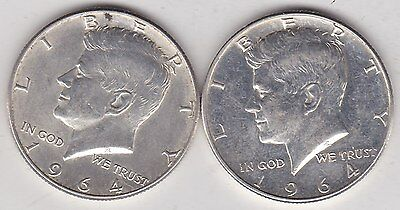 Two Usa 1964 Kennedy Half Dollars In Near Mint Condition