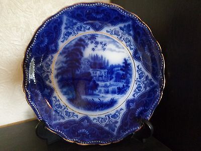 """FORD & SONS Flow Blue """" RUSKIN """" 9.5"""" Plate c1900-1907 - FREE UK POSTAGE"""