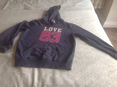Girls Navy Blue  Hoodie Size 11/12 Good Condition