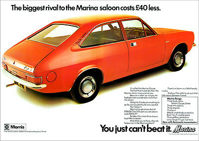 Morris Marina Coupe Retro A3 Poster Print From Classic 70's Advert